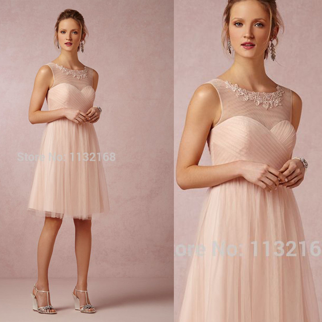 Affordable Simple Pale pink Knee length Short Summer Bridesmaid dresses dbc06157592e