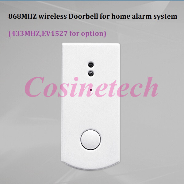 868MHZ wireless doorbell/panic button for 7 inch touch screen alarm system , 433MHZ EV1527 doorbell for home alarm systems 2 receivers 60 buzzers wireless restaurant buzzer caller table call calling button waiter pager system