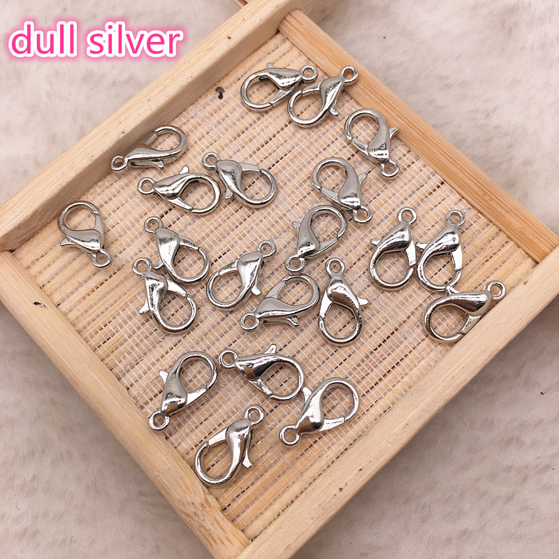 50pcs 12mm Metal Lobster Clasps Hooks For Jewelry Finding Gold/dull Silver/Gun Black Color Connect Buckle DIY Necklace&Bracelet