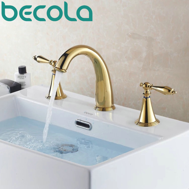 Free Shipping BECOLA gold plated basin faucet brass tub faucet deck mounted bathroom dual handle taps GZ-8202K