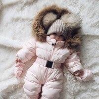 Baby Jumpsuits Boys Girls Winter Overalls Baby Rompers Duck Down Jumpsuit Fur collar Children Outerwear Kids Snowsuit