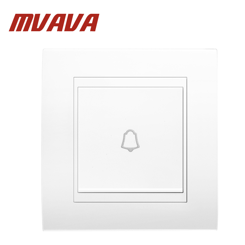 MVAVA 86*90MM 110-250V Push Bottom Home Office Hotel Gate Doorbell Wall Switch White One Gang Door Bell Switch Free Shipping gate one