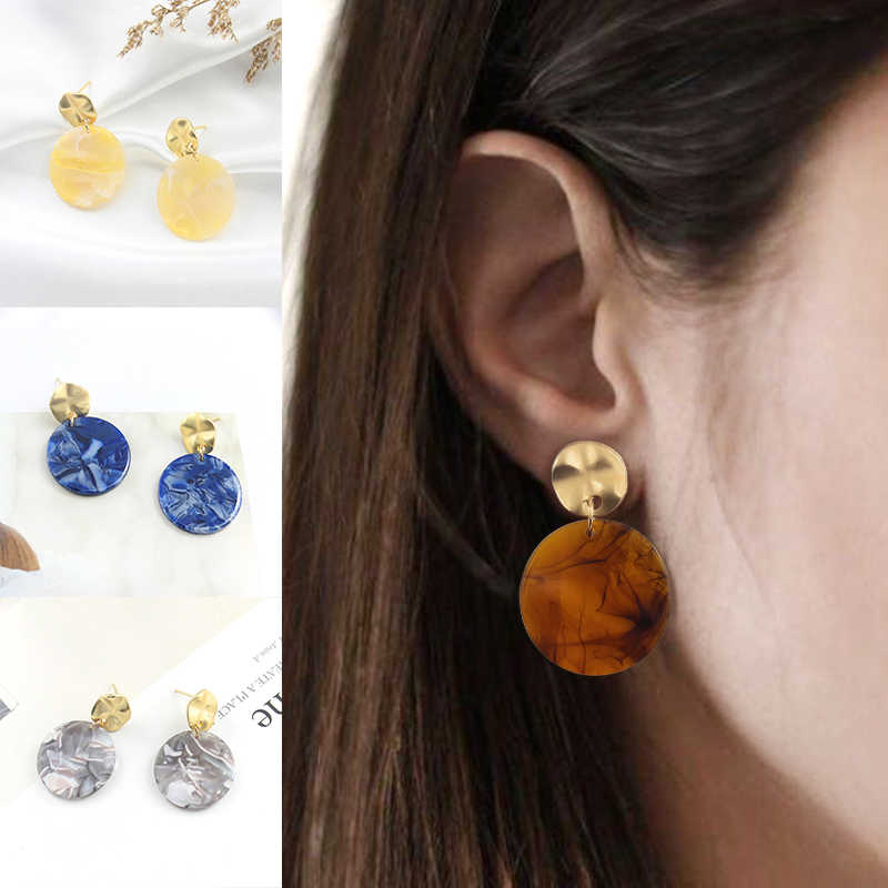 Four colors of transparent pattern inlaid blue brown gray yellow earrings smoke debris fairy temperament feeling female