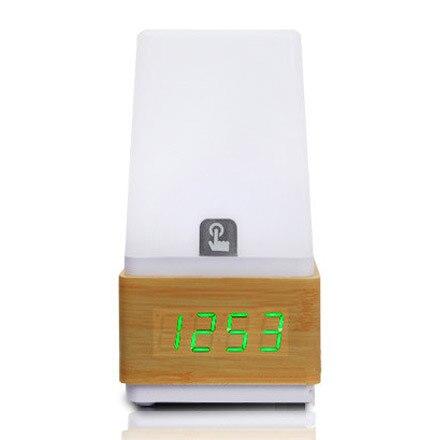 Livraison gratuite led tactile capteur numérique électronique réveil muet rétro lumière vocale chevet bois horloge - 3