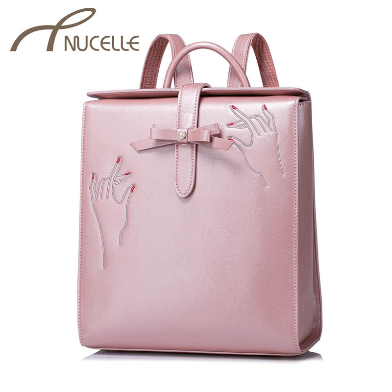 NUCELLE Women PU Leather Backpack Fashion Bow Female Elegant Daily Box Shoulder Bags Ladies Embroidery Travel Rucksack NZ4954