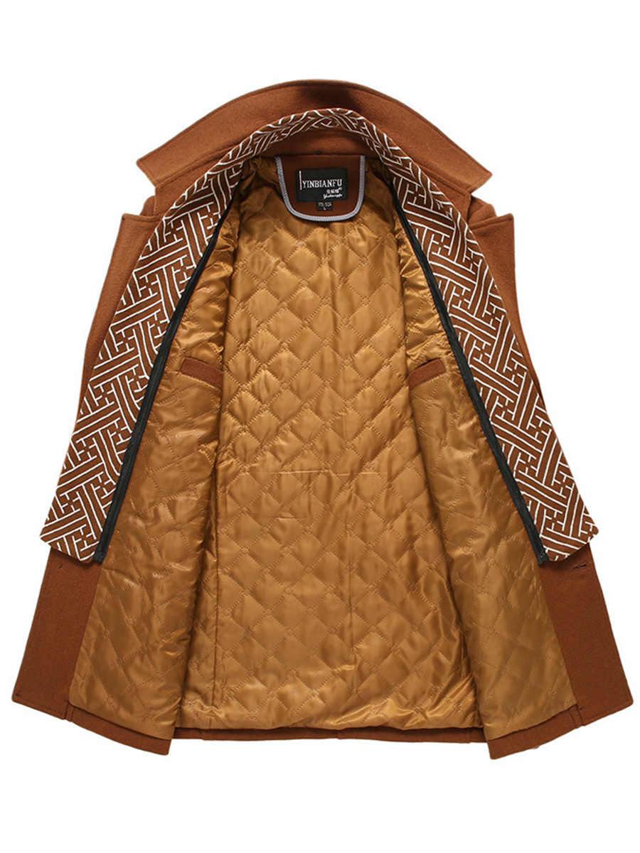 Зимняя шерстяная куртка мужская Высококачественная шерстяная облегающее пальто в повседневном стиле шерстяное пальто с воротником/мужской длинный Хлопковый тренч с воротником Прямая доставка