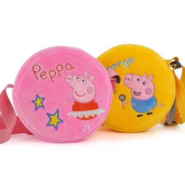 16*16cm 2019 New Arrival Genuine Peppa Pig Plush Pink Blue round cross bag Peppa George suzy sheep kids Birthday gift Toy