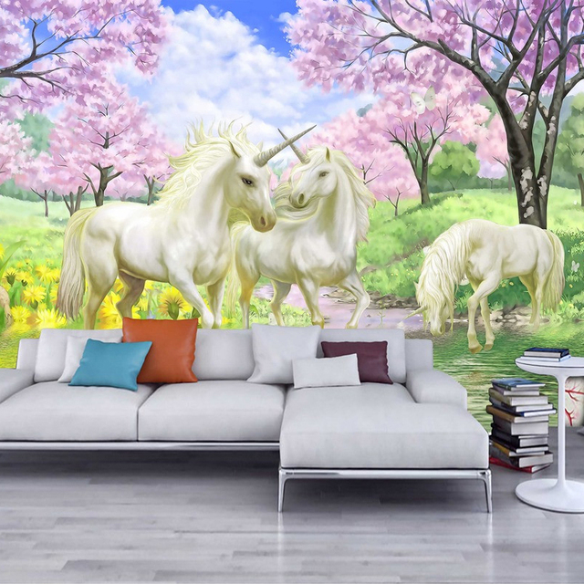 Custom Mural Wallpaper European Fantasy Style Fairy Tale Cartoon
