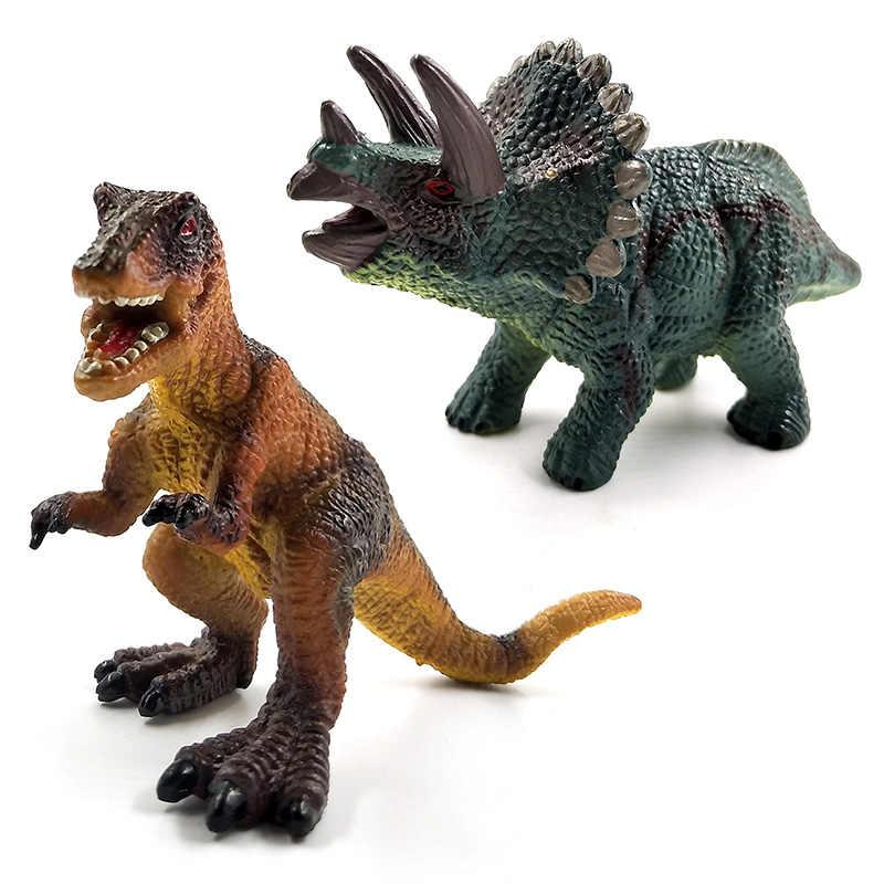Simulação modelo animal Dinossauro Triceratops Tyrannosaurus Rex figuras de decoração para casa acessórios de decoração Estatueta brinquedos Caçoa o Presente