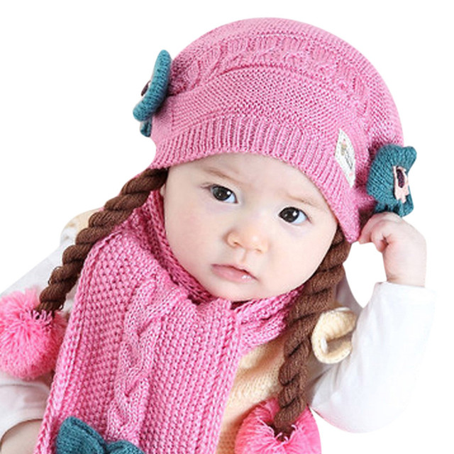 Baby Girl Boys Hat Warm Cotton Knit Warm Hat Beanie Hairball Cap Scarf Set Infant  Winter Newborn Baby Clothing 18Nov5 08c912795c0