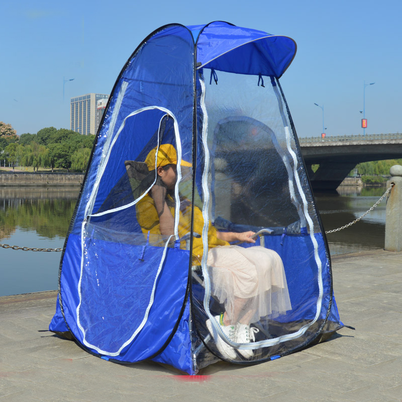 Single person fishing Portable outdoor pop up tent with UV function 120*120*170CM ice fishing tent with a sunshade cap