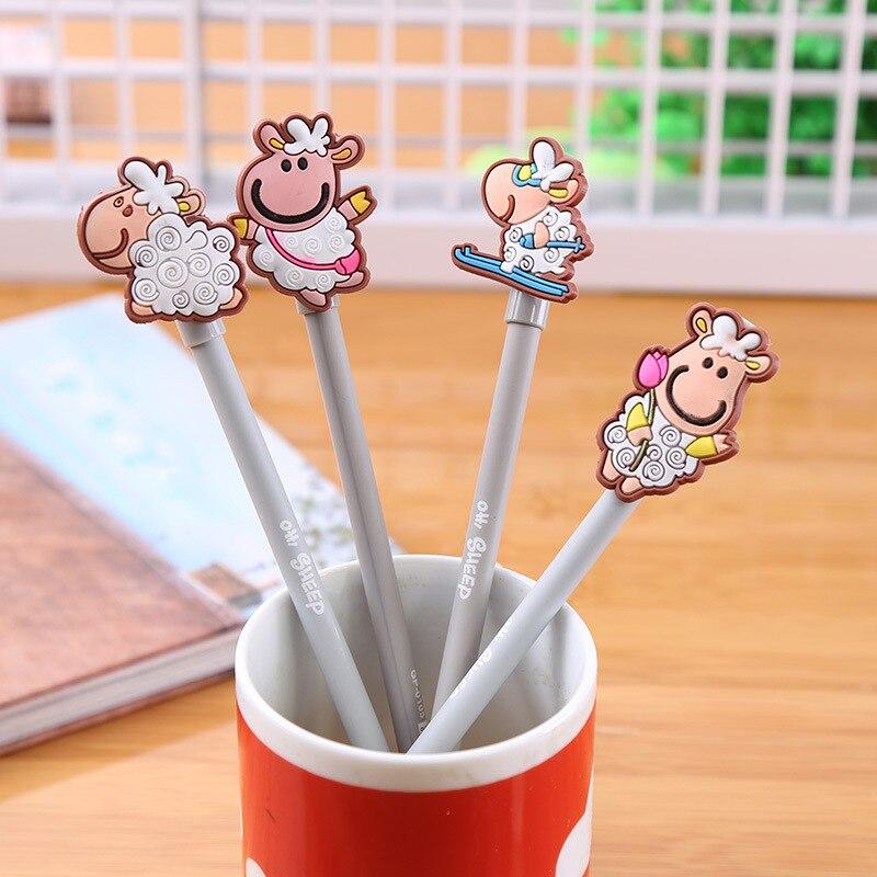 Us 246 4 Pcs Pack Kawaii Little Lamb Wooden Pen 038mm Sheep Gel Black Ink Pen Promotional Gift Stationery Student Prize In Gel Pens From