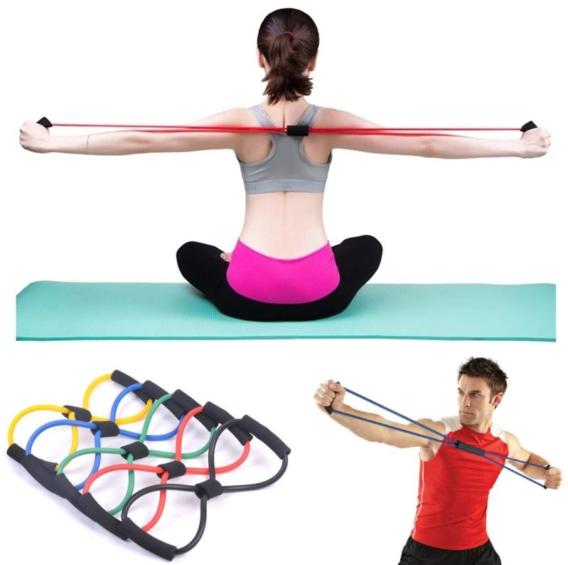 Yoga Gum Fitness Resistance 8 Word Chest Expander Rope Workout Muscle Fitness Rubber Elastic Bands For Sports Exercise