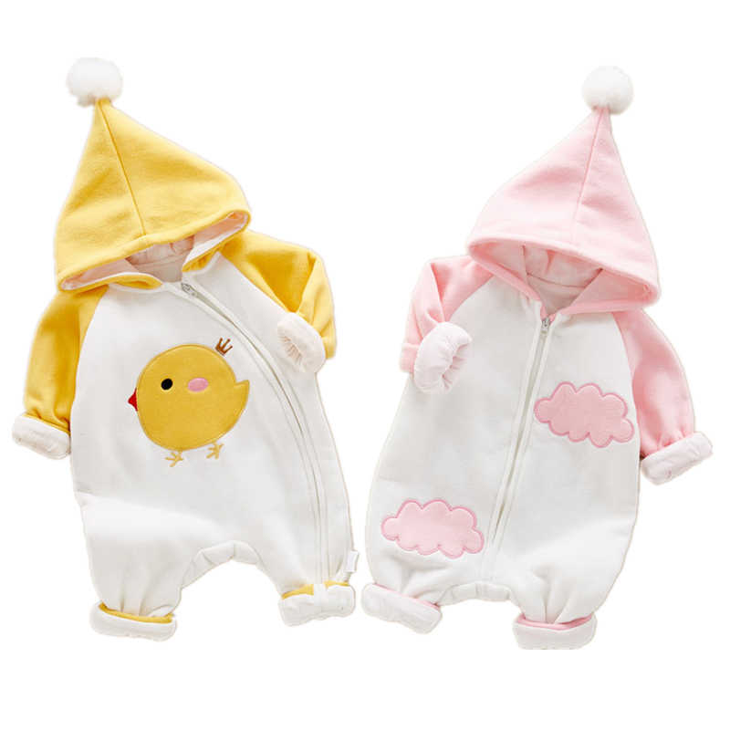 Winter Baby Thick Warm Rompers Boys Sleepwear Girls Newborn Clothes Cartoon Jumpsuit Pajamas Warm Cute Pattern Macacao W61