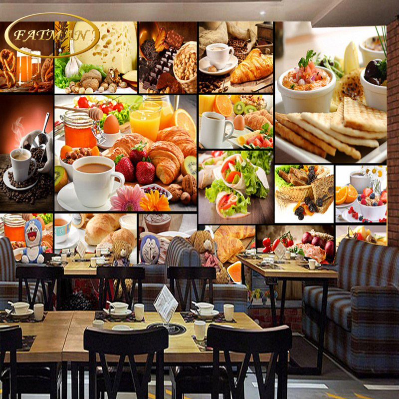 цены Custom photo wallpaper food wallpaper European style mural milk tea dessert shop cafe restaurant kitchen wallpaper