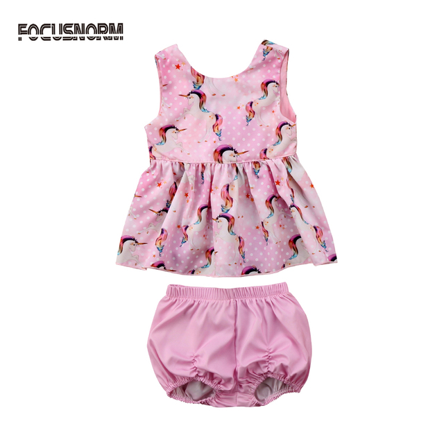 5fab268ef18c7 US $4.99 20% OFF Cute Newborn Clothes 2018 Summer Baby Girls Sleeveless  Unicorn Tops Dress Shorts 2Pcs Outfits Set Clothes Roupas De Bebes 0 18M-in  ...