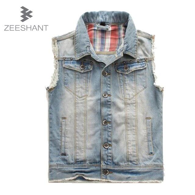 ZEESHANT Men Denim Vest Cowboy XXXXL Plus Size Rock Jeans Waistcoat Slim Cotton Motorcycle Gang denim Vest Male Gilet Homme