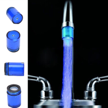 Светодиодный светильник для душа с питанием от воды, Распылительная насадка для кухни, аэраторы крана, кран для раковины, носики, адаптер с внутренней резьбой, 7 цветов