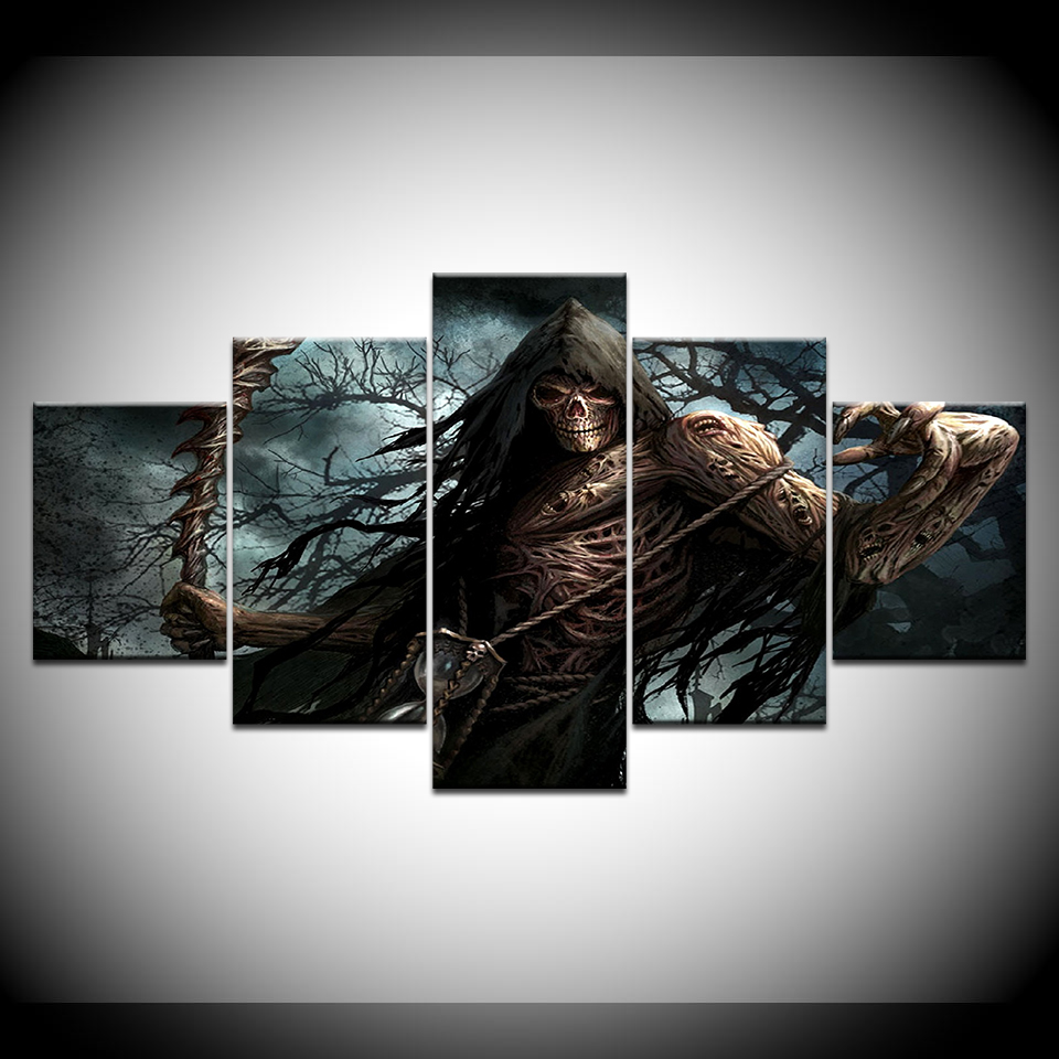 Canvas Painting Grim Reaper 5 Pieces Wall Art Painting Modular Wallpapers Poster Print for living room Home Decor in Painting Calligraphy from Home Garden