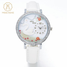 6f97dbd6ec0 Miss Keke 2016 Novo Argila 3d Bonito Mini Mundo Swan Rhinestone Quartz  Watch Relogio feminino Ladies Mulheres relógios de Pulso .