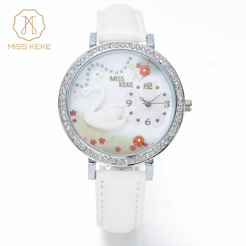 Fröken Keke 2016 New Clay Söt 3D Mini World Swan Rhinestone Quartz Watch Relogio Feminino Damkvinnor Läder Armbandsur 1041