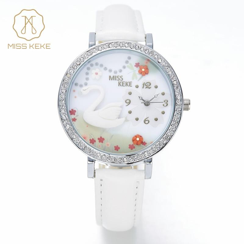 Fräulein Keke 2016 New Clay Nette 3d Mini World Swan Strass Quarzuhr Relogio Feminino Damen Frauen Leder Armbanduhren 1041