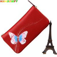 2018 Fashion Women wallets cow Genuine Leather butterfly female purse tide hand holding party original handmade long wallets