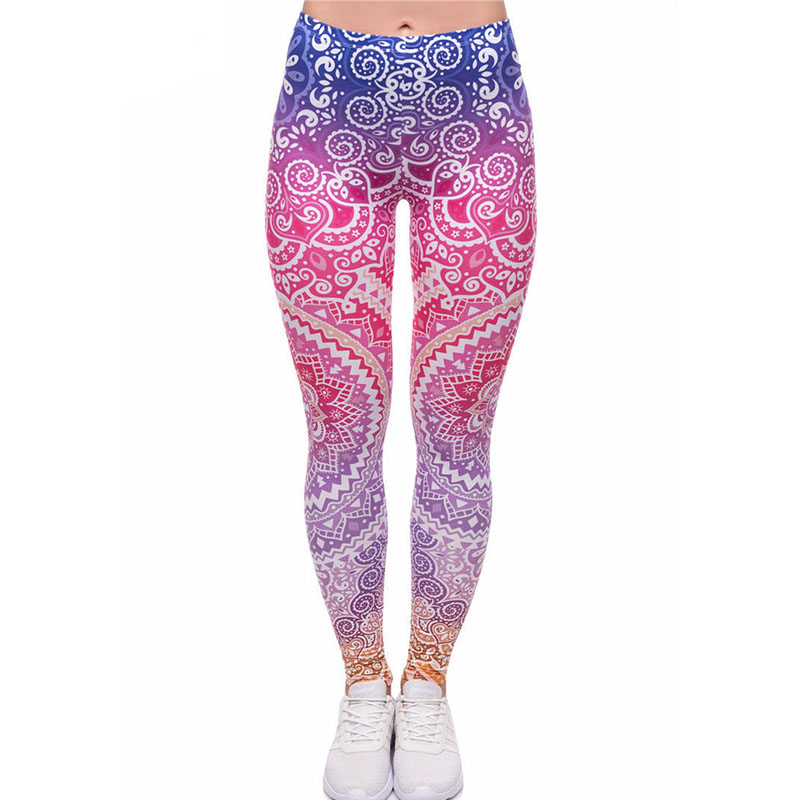 2018 Women Fashion Casual Fitness Ombre Flowers Leggings