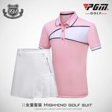 PGM подлинный костюм для гольфа детская одежда для гольфа для девочек футболка с короткими рукавами дышащая юбка для девочек размер M-XXL