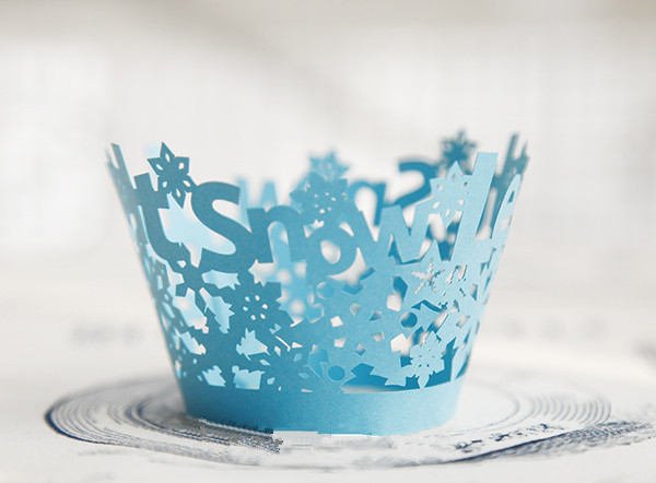 Free Shipping blue snowflake decoration cupcake wrapper paper cupcakes cup cake party baking wrapper