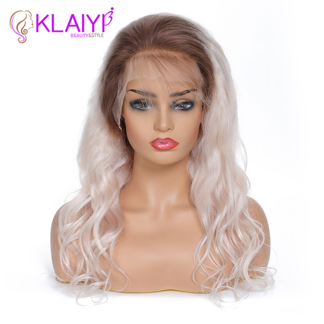 Klaiyi Hair Wig Loose Wave Lace Front Human Hair Wigs Brazilian Remy Hair Wig With Pre Plucked Hairline T260 Mix Color Hair