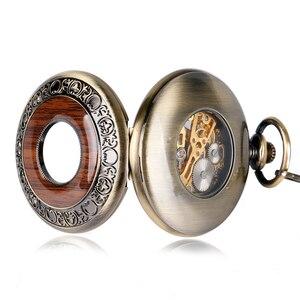 Image 5 - Funda hueca de bronce Retro, Número romano, mano esqueleto, viento, Mehanical, relojes de bolsillo con cadena, Reloj de bolsillo