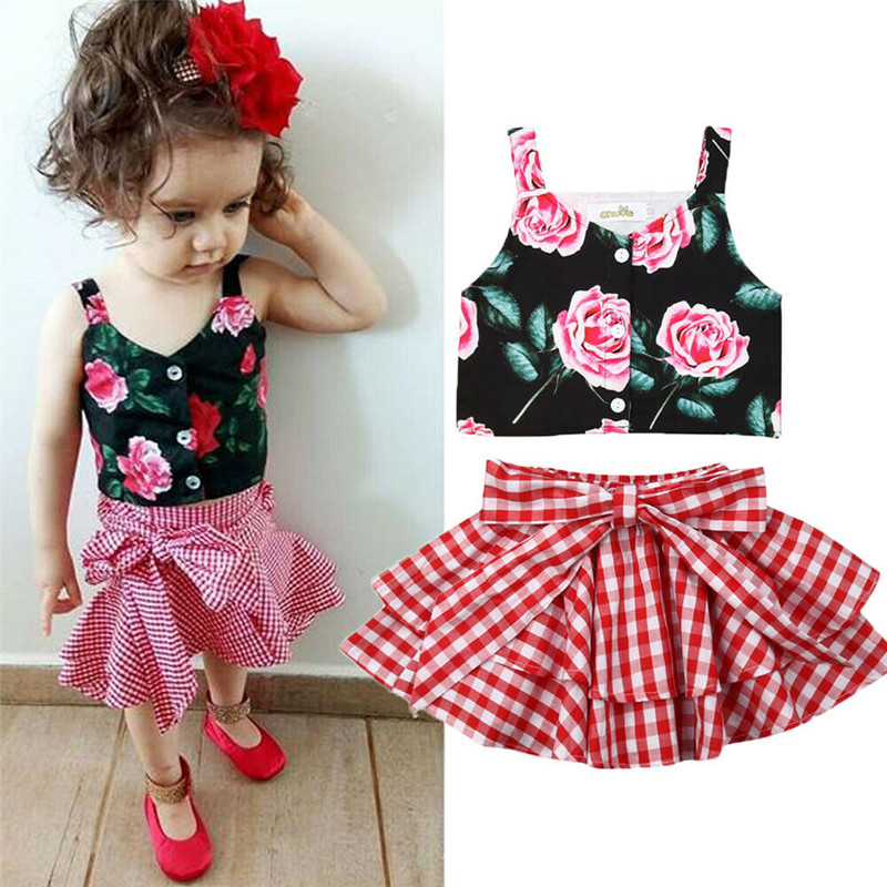 Girls' Clothing Clothing Sets Trend Mark Pudcoco Clothing Sets 2019 Children Clothing Sleeveless T-shirt+bow Plaid Skirt 2pcs For Kids Clothing Sets Baby Girl Suit Quality And Quantity Assured