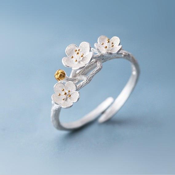 Shuangshuo Cherry Blossom Branch Rings for kvinner justerbar Flower Finger Ring Women Ring Bagues Strass joyas de acero