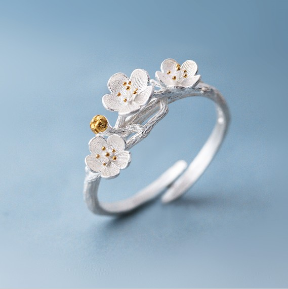 Shuangshuo Οι δακτύλιοι κερασιάς Blossom Branch για τις γυναίκες Ρυθμιζόμενο δαχτυλίδι δάχτυλο λουλουδιών γυναικών δαχτυλίδι Bagues Strass joyas de acero