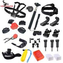 YOOCUANG For Gopro Equipment Set Helmet Harness Strap Monopod Go professional Hero5 5S four session Three xiaomi yi 2 SJCAM Y17