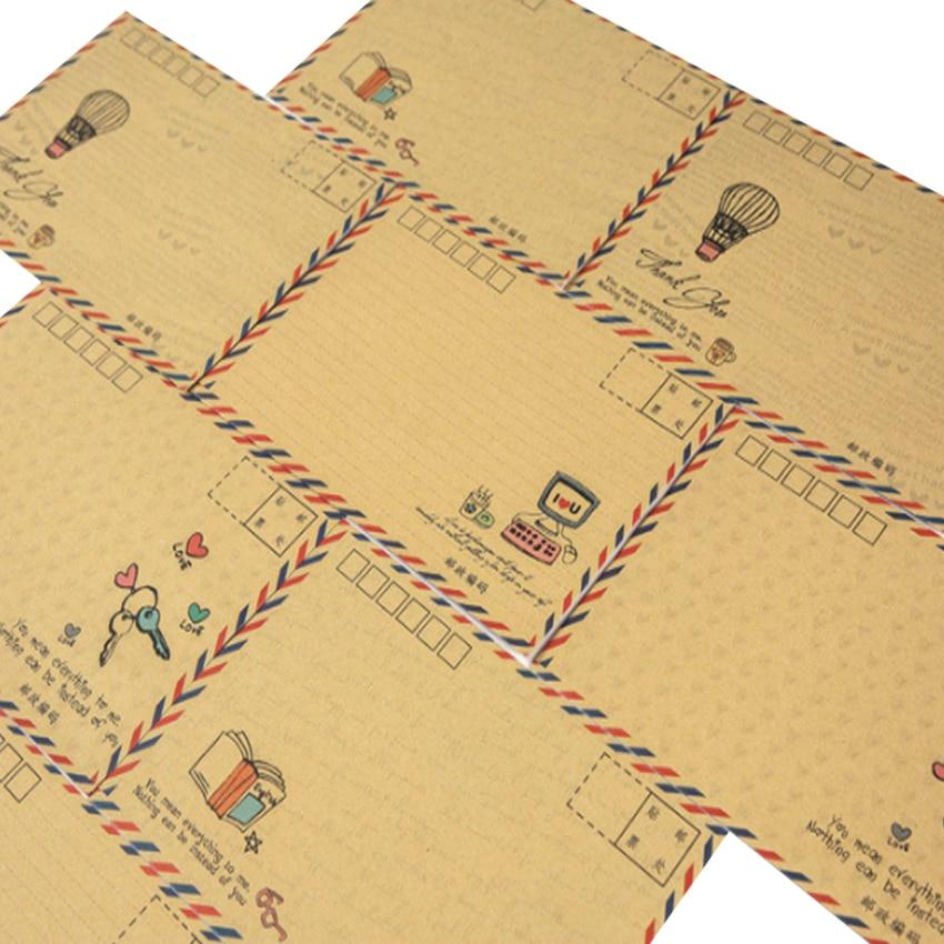 8pcs/lot Lovely B6 Postcard Letter Stationery Paper Kraft Stationery Envelope Gift Envelope