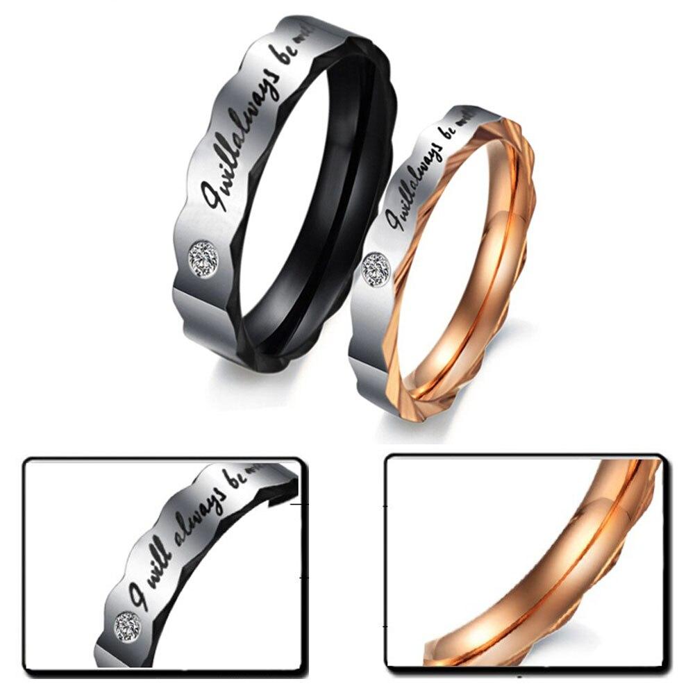 1 шт. Титан Сталь пара обручальное пара любовника Обручение Promise Ring