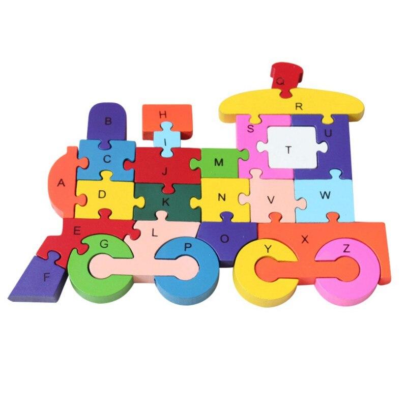 26 шт. 26 букв головоломки для детей буквенно-цифровой распознавания животных поезд деревянные пазлы Дети Развивающие игрушки Новый