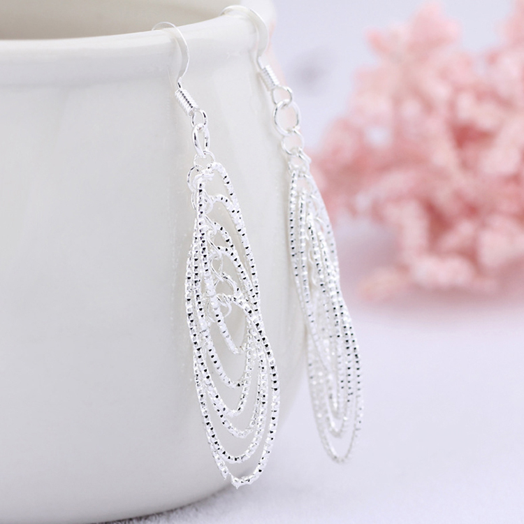 Fashion Elegant Style Circles Shaped Silver Plated Woman Earrings Charming Jewelery EAR-0625
