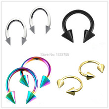 free shipping Retail 1 Pair 16G surgical Steel circular spike cone piercing plated titanium colors piercing horseshoe ring