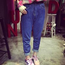 Тонкий эластичный пояс один продукт красивый хорошо темно-синий свободно BF мода джинсы женщины нью-весна лето