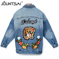 Fashion Tiger And Flower Embroidery Denim Jacket 2017 Autumn Vintage Batwing Sleeve Loose Denim Jacket Women Outwear