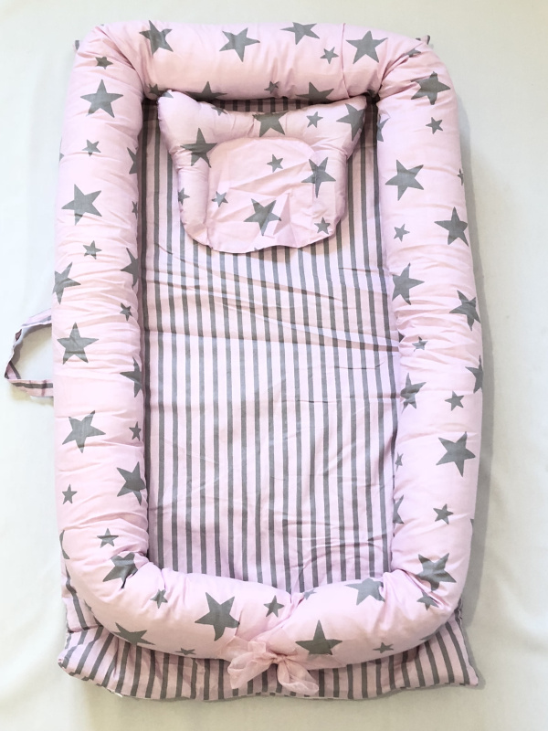 Детская кровать-гнездо с подушкой, детская кровать, snuggle nest. Co-sleeper, детская кровать для путешествий, детский кокон, детская кровать, детская спальная - Цвет: Sky Pink