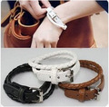 Minimalist Fashion Leather Woven Bracelet Female Multi-layer Winding Bracelets