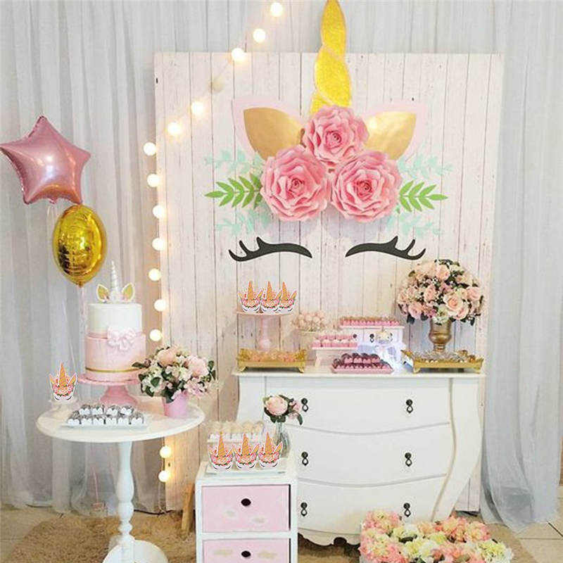 . Unicorn Party Decorations Tablecloth Napkin Cup Balloons Cute Unicornio DIY  Paper Flower Wedding Birthday Baby Shower Supplies