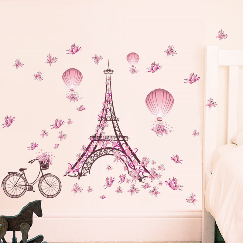 Romantic Eiffel Tower Love Couple Wall Stickers Decals Living Room Decoration Bicycle Flower Hot Air Balloon Wedding Decoration