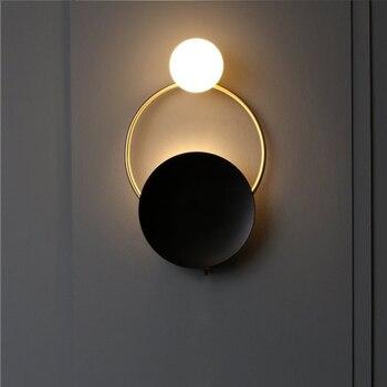 Lámpara de pared de cristal de diseñador, luces de pared de Metal esféricas redondas, para Villa, sala de estar, dormitorio, pasillo, habitación, modelo de baño