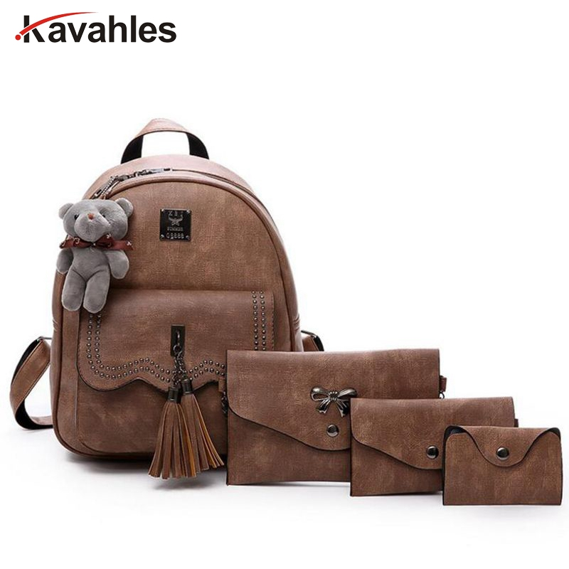 New Design Tassel Women Backpack PU Leather Backpack for Girls Female School Shoulder Bag Vintage 5 Pcs/Set Bagpack  PP-1158 vintage tassel women backpack nubuck pu leather backpacks for teenage girls female school shoulder bags bagpack mochila escolar