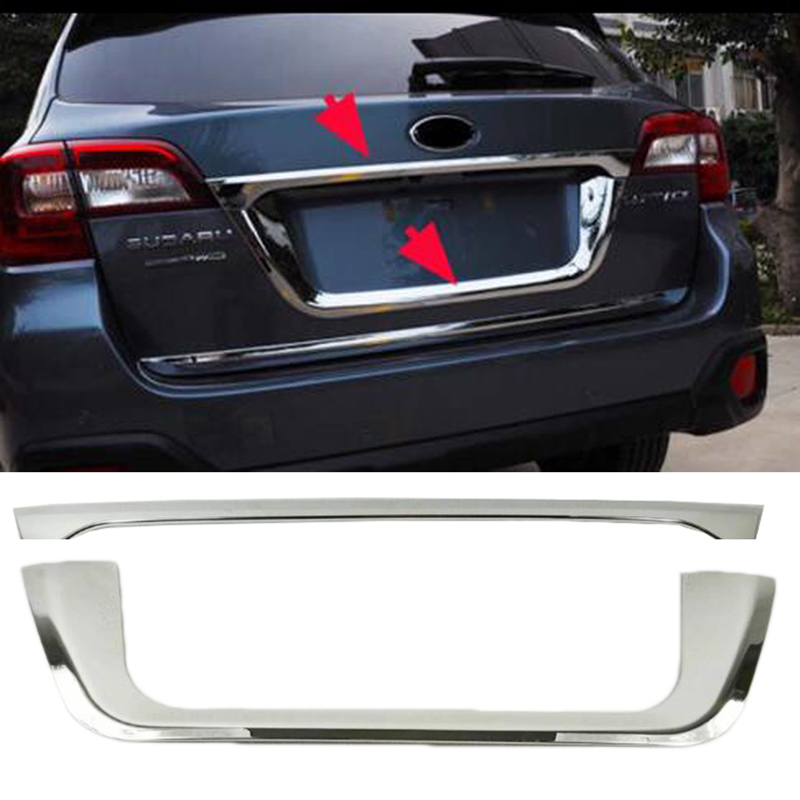 Chrome Rear Tail Trunk Lid Cover License Pate Trim 2PCS For 2015 Subaru Outback 2016 car auto accessories rear trunk trim tail door trim for subaru xv 2009 2010 2011 2012 2013 2014 abs chrome 1pc per set